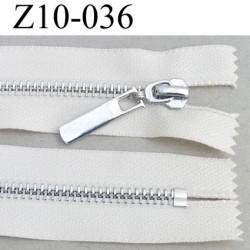 fermeture zip longueur 10 cm couleur écru non séparable largeur 3 cm glissière métal chromé vraiment superbe largeur 6 mm