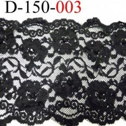 Dentelle lycra couleur noir  avec des strass noir brillant largeur 150 mm très belle