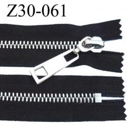 fermeture zip à glissière en métal chromé longueur 30 cm couleur noir non séparable  largeur 3.6 cm zip glissière largeur 8 mm