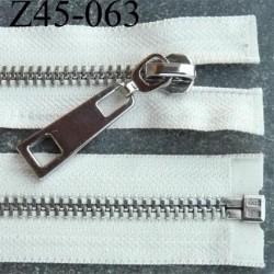 fermeture zip longueur 45 cm couleur écru séparable superbe largeur 3,8 cm largeur de la glissière métal chromé largeur 8 mm