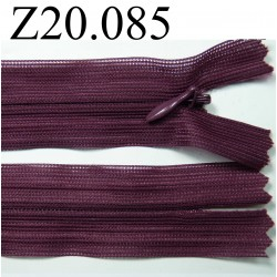 fermeture éclair invisible longueur 20 cm couleur bordeau prune non séparable zip nylon largeur 2,5 cm