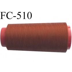 Cone de fil mousse polyester  fil n° 160 couleur marron tirant sur le rouille cone de 1000 mètres bobiné en France