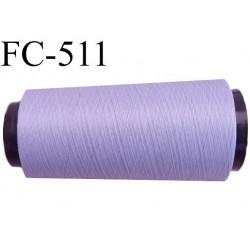 Cone de fil mousse polyester  fil n° 160 couleur lilas parme cone de 2000 mètres bobiné en France