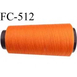 Cone de fil mousse polyester  fil n° 160 couleur orange lumineux cone de 2000 mètres bobiné en France