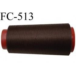 Cone de fil mousse polyester  fil n° 160 couleur marron foncé cone de 2000 mètres bobiné en France