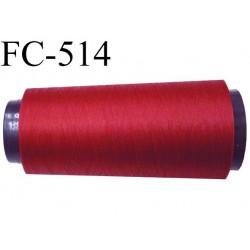 Cone de fil mousse polyester  fil n° 160 couleur rouge cone de 2000 mètres bobiné en France