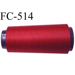 Cone de fil mousse polyester  fil n° 160 couleur rouge cone de 5000 mètres bobiné en France