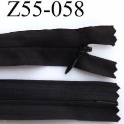 fermeture invisible  zip à glissière longueur 55 cm couleur noir non séparable largeur 2.2 cm glissière nylon largeur 4 mm