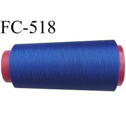 Cone de fil mousse polyester  fil n° 160 couleur bleu cone de 1000 mètres bobiné en France