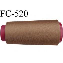 Cone de fil mousse polyester  fil n° 160 couleur marron caramel cone de 2000 mètres bobiné en France