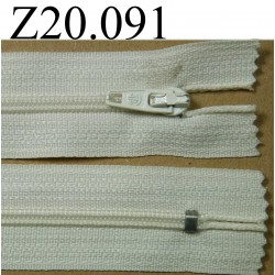 fermeture éclair  longueur 20 cm couleur blanc écru non séparable zip nylon largeur 2,5 cm