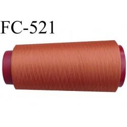 Cone de fil mousse polyester  fil n° 160 couleur orange foncé ou orangé cone de 1000 mètres bobiné en France