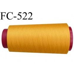 Cone de fil mousse polyester  fil n° 160 couleur jaune cone de 2000 mètres bobiné en France