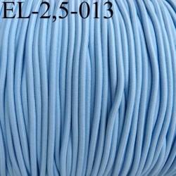 élastique cordon très belle qualité et très résistant couleur bleu largeur 2,5 mm prix au mètre