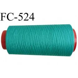 Cone de fil mousse polyester  fil n° 120 couleur vert cone de 5000 mètres bobiné en France