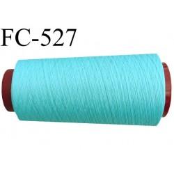 Cone de fil mousse polyester  fil n° 120 couleur bleu vert lagon cone de 2000 mètres bobiné en France