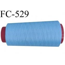 Cone de fil mousse polyester  fil n° 120 couleur bleu  cone de 2000 mètres bobiné en France