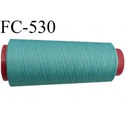 Cone de fil mousse polyester  fil n° 120 couleur vert cone de 2000 mètres bobiné en France