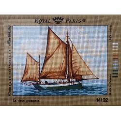 canevas 30X40 marque ROYAL PARIS thème bateau dimension 30 centimètres par 40 centimètres 100 % coton