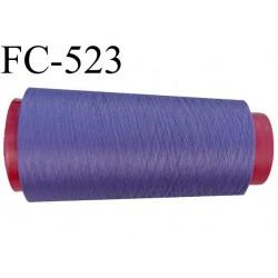 Cone de fil mousse polyester  fil n° 160 couleur violet pourpre cone de 2000 mètres bobiné en France
