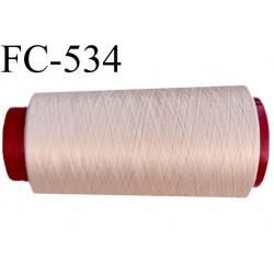 Cone de fil mousse polyester  fil n° 160 couleur crème sable cone de 2000 mètres bobiné en France
