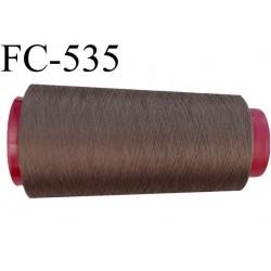 Cone de fil mousse polyester  fil n° 160 couleur marron taupe tirant sur le bronze cone de 2000 mètres bobiné en France