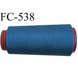 Cone de fil mousse polyester  fil n° 160 couleur bleu cone de 5000 mètres bobiné en France