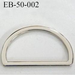 Boucle etrier anneau demi rond métal couleur chromé brillant largeur extérieur 5 cm intérieur 4.1 cm hauteur 3 cm