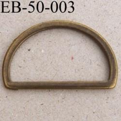 Boucle etrier anneau demi rond métal couleur laiton vieilli largeur extérieur 4.8 cm intérieur 4.1 cm hauteur 3 cm