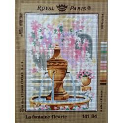 canevas 30X40 marque ROYAL PARIS thème la fontaine fleurie dimennsion 30 centimètres par 40 centimètres 100 % coton