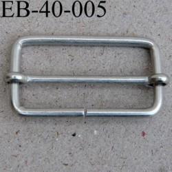 Boucle rectangle coulissant métal couleur argenté largeur extérieur 4 cm intér 3.5 cm hauteur extér 2.3 cm intérieur 1.8 cm