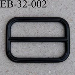 Boucle rectangle en métal couleur noir brillant largeur extérieur 3.2 cm largeur intérieur 2.7 cm hauteur 23 mm