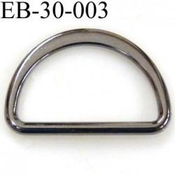 Boucle etrier anneau demi rond métal couleur acier brillant largeur extérieur 3 cm intérieur 2.5 cm hauteur 2.1 cm