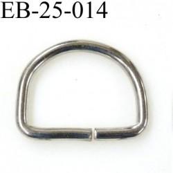 Boucle étrier demi rond métal couleur chromé brillant largeur extérieur 2.5 cm intérieur 2 cm iédal sangle de 2 cm hauteur 2 cm