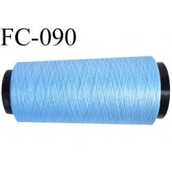 Cone de fil mousse polyamide fil n° 120 couleur bleu ciel longueur du cone 1000 mètres bobiné en France