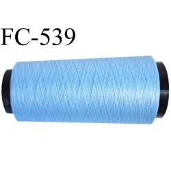 Cone de fil mousse polyester  fil n° 160 couleur bleu cone ciel de 1000 mètres bobiné en France