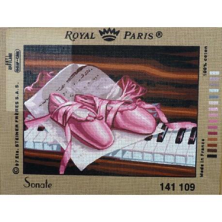 canevas 30X40 marque ROYAL PARIS thème sonate dimension 30 centimètres par 40 centimètres 100 % coton