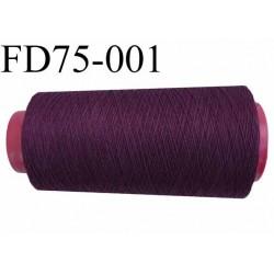 Cone ( en Destockage ) de fil  polyester  fil n°35 couleur bordeau longueur du cone 2000 mètres bobiné en France