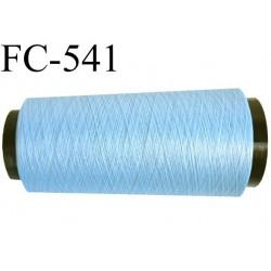 Cone de fil mousse polyester texturé fil n° 120 couleur bleu ciel clair cone de 2000 mètres bobiné en France