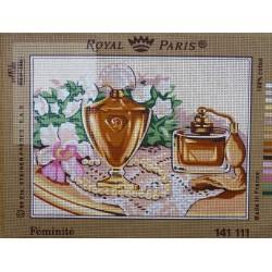canevas 30X40 marque ROYAL PARIS thème féminité dimension 30 centimètres par 40 centimètres 100 % coton