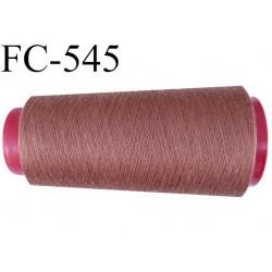 CONE de fil polyester fil n° 120 couleur marron clair  longueur de 2000 mètres bobiné en France