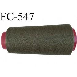 CONE de fil polyester fil n° 120 couleur vert kaki plus clair que la ref FC-095  longueur de 2000 mètres bobiné en France