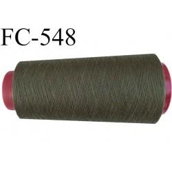 CONE de fil polyester fil n° 180 couleur vert kaki  longueur de 1000 mètres bobiné en France