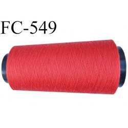 CONE de fil polyester fil n° 120 couleur rouge coraillé longueur de 2000 mètres bobiné en France
