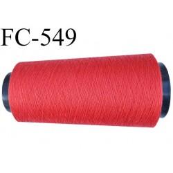 CONE de fil polyester fil n° 120 couleur rouge coraillé longueur de 5000 mètres bobiné en France