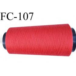 CONE de fil polyester fil n° 180 couleur rouge coraillé  longueur de 1000 mètres bobiné en France