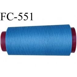 Cone de fil mousse polyester  fil n° 120 couleur bleu cone de 5000 mètres bobiné en France