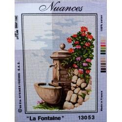 canevas 30X40 marque NUANCE PARIS thème la fontaine dimension 30 centimètres par 40 centimètres 100 % coton