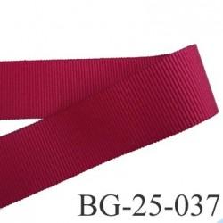 Galon ruban passementerie gros grain synthétique  largeur 25 mm couleur rouge bordeaux grenat très très solide prix au mètre