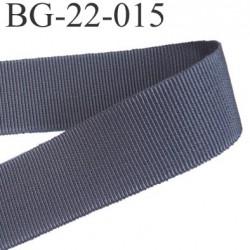 Galon ruban passementerie gros grain synthétique  largeur 22 mm couleur gris très très solide prix au mètre
